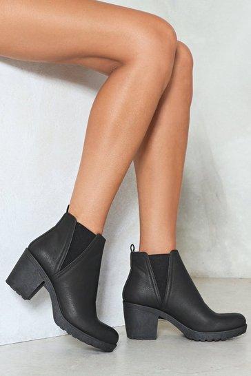 Black A Little Less Conversation Faux Leather Boot