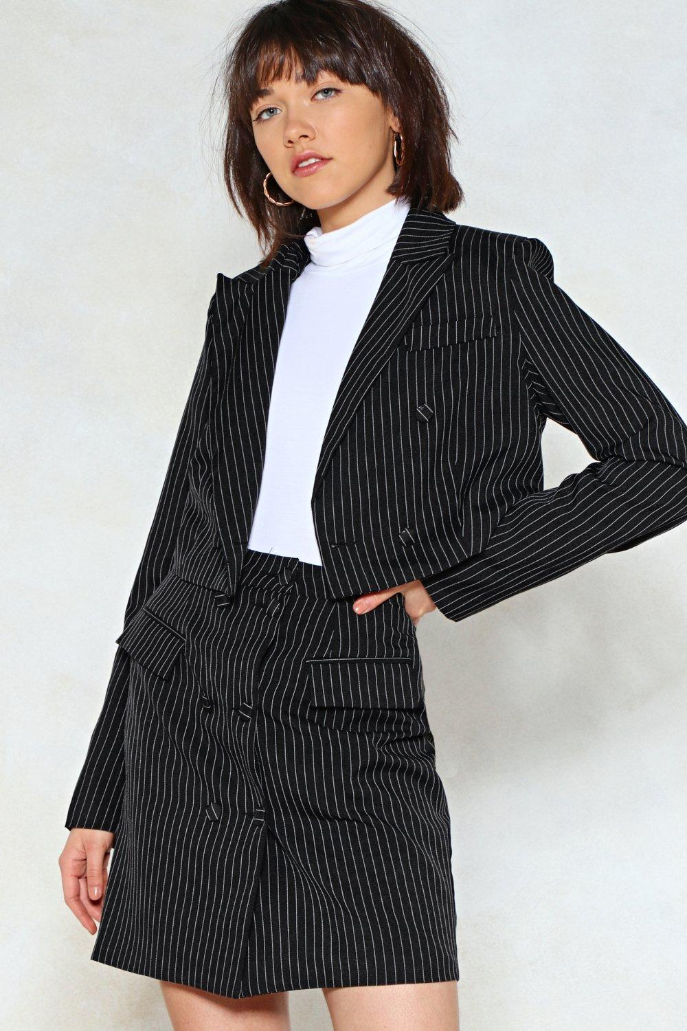 961952fde Womens Black Mix Business with Pleasure Cropped Blazer and Mini Skirt Set