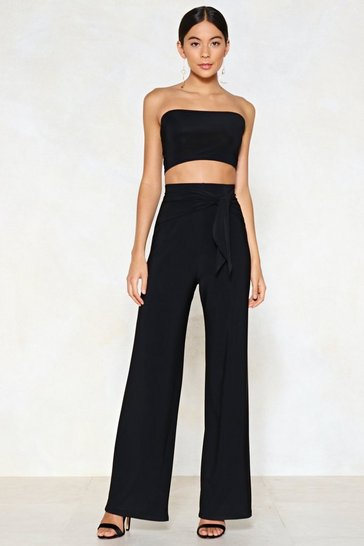 Womens Black Tie Me Later Bandeau Top and Wide-Leg Trousers Set