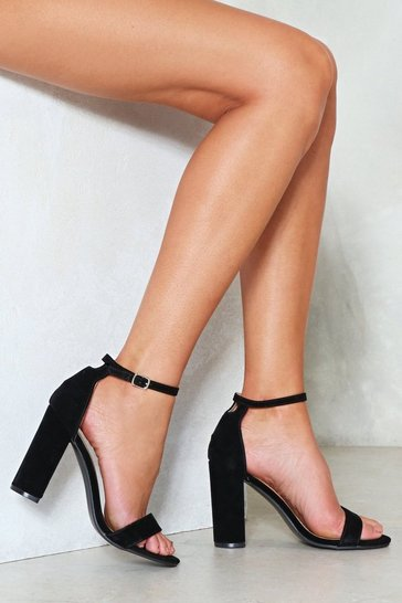 Black Faux Suede and High Block Heel Sandal