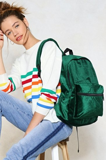 Green WANT How Touching Velvet Backpack