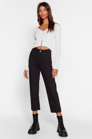 Womens Black Pit Stop Cropped Jeans