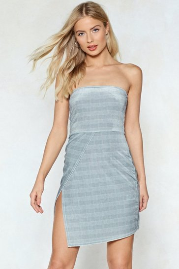 Grey No Straps Attached Check Dress