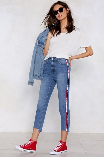 Womens Vintage blue You're Absolutely Stripe High-Waisted Jeans