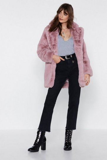 Dusky pink Mid Length Oversized Faux Fur Coat