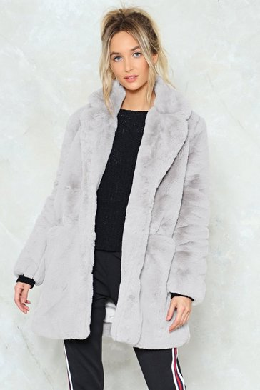 Womens Grey Surfin' Bird Faux Fur Coat