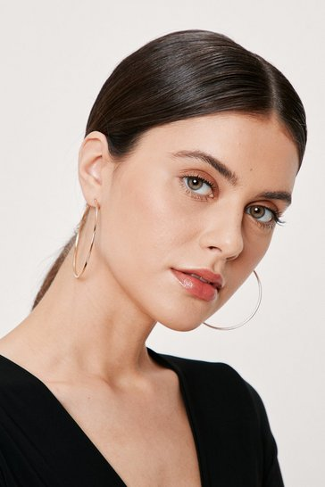 Womens Gold Fine Evening Hoop Earrings