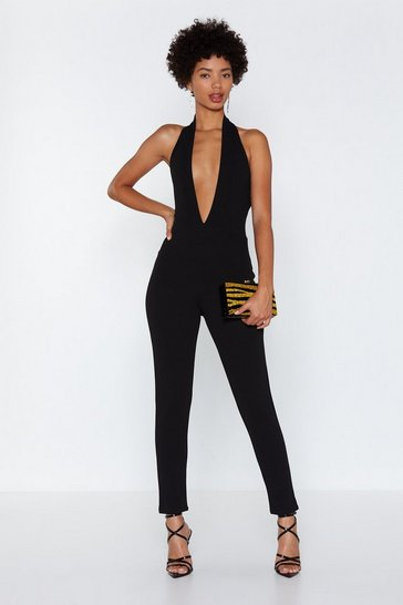 Womens Black Plunge Straight in Halter Jumpsuit