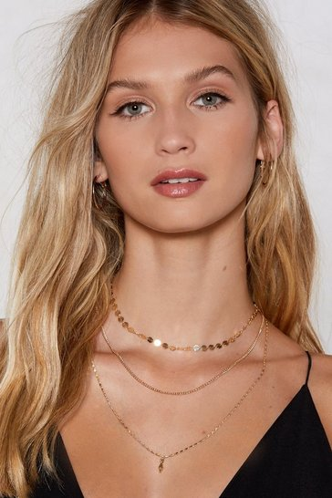 Womens Gold More or Less Layered Necklace