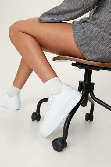 Womens White Rise Up Platform Sneaker