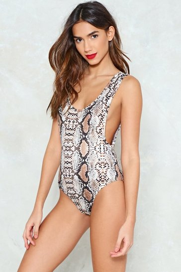 Womens Tan Not Seen You in a Reptile Scoop Bodysuit