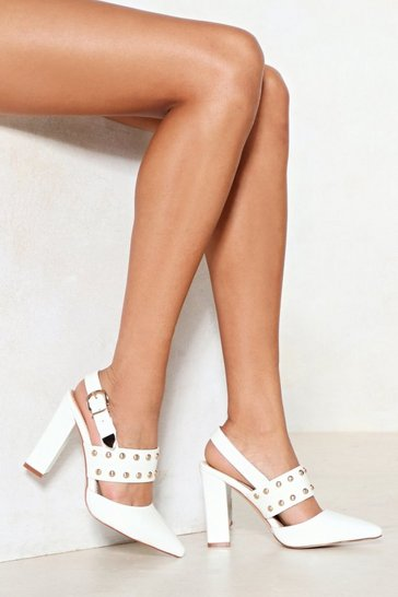 Womens White Stud Up For What You Believe in Faux Leather Heel