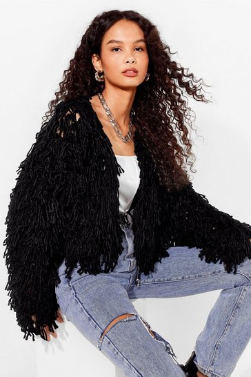 Black Cropped Silhouette Shaggy Cardigan