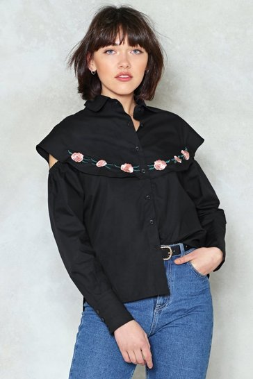 Womens Black Over My Thread Embroidered Shirt
