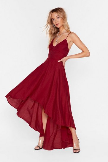Merlot Red V-Neckline Lace-Up Maxi Red Dress