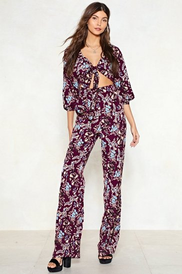 Womens Purple Funkytown Floral Jumpsuit