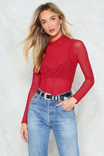 Red Don't Mesh It Up Turtleneck Top