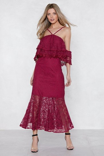 Womens Cherry Without a Lace Maxi Dress