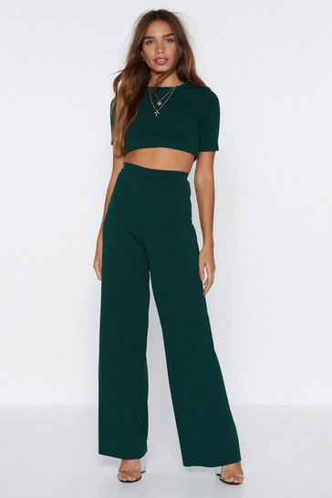Womens Emerald Settle the Score Crop Top and Pants Set