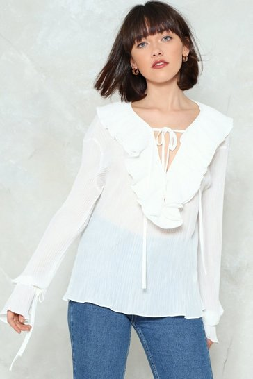Womens White Layer It On Ruffle Top