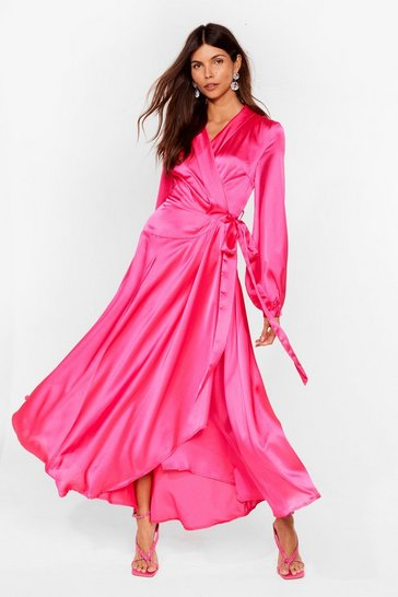 Pink Steal the Spotlight Satin Dress