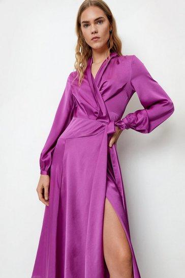 Purple Steal the Spotlight Satin Dress