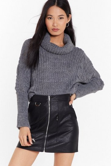 Womens Charcoal They Had Knit Coming Turtleneck Sweater