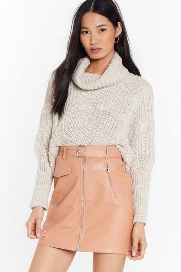 Womens Stone They Had Knit Coming Turtleneck Sweater