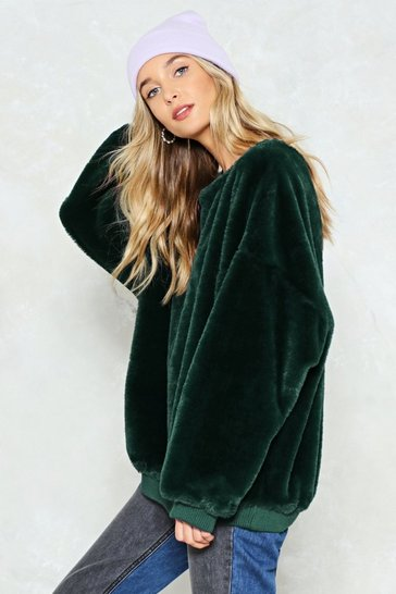 Bottle green Have It Easy Faux Fur Sweatshirt