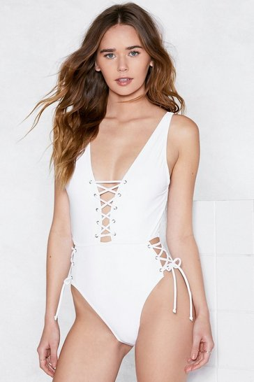 Womens White Tie As I May Lace-Up Swimsuit