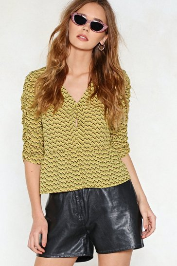 Womens Mustard Put It in Print Blouse