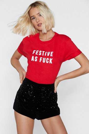 Red Festive as Fuck Holiday Tee