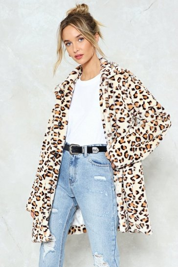 Womens Brown No Hard Felines Leopard Faux Fur Coat