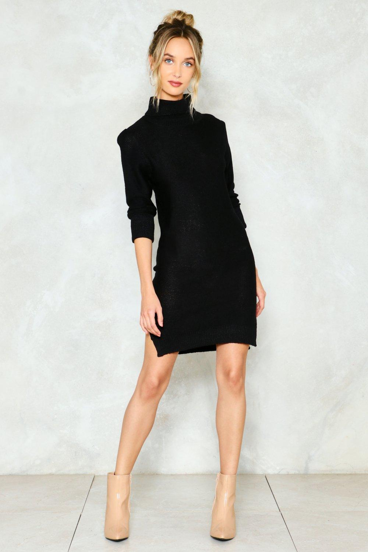 370bf954f78 Womens Black Warm Up Turtleneck Sweater Dress
