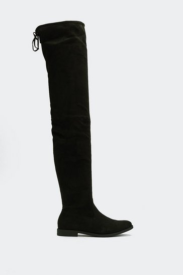 Black Faux Suede Tie Back Thigh High Boots