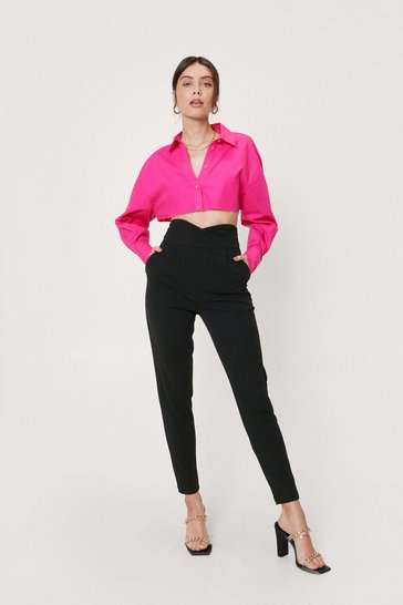 Black Fitted Wrap Waist Tailored Trousers