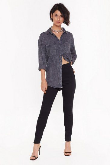 Black Around the Bend High-Waisted Jeans