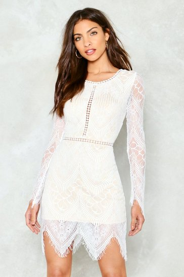 White One More Night Lace Mini Dress
