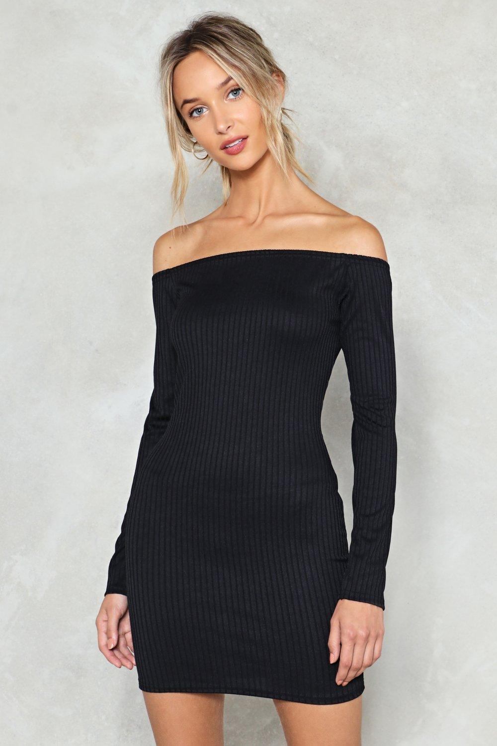778c911f318 Womens Black On and Off Ribbed Off-the-Shoulder Dress