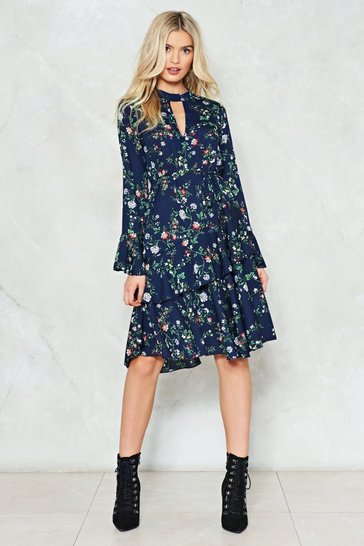 Womens Navy Spring into Action Floral Dress