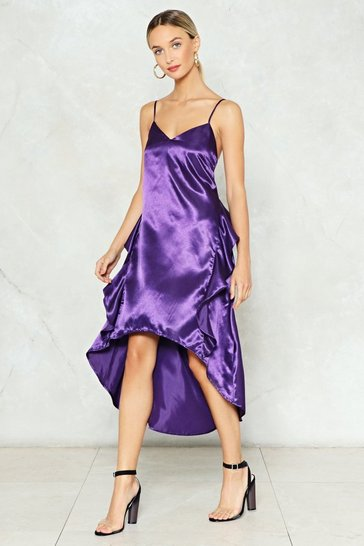 Purple A Royal Flush Satin Slip Dress