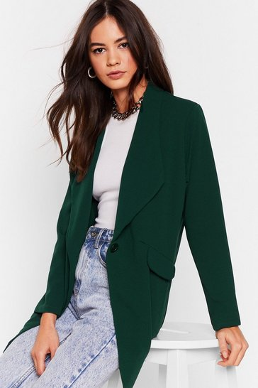 Womens Green Act Professional Oversized Blazer