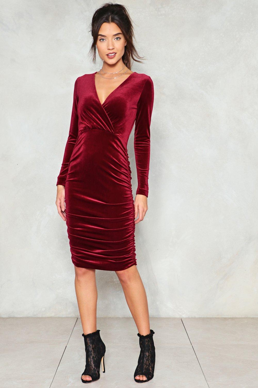 70cf91d10ac Womens Burgundy Ruche Around Town Velvet Midi Dress. Hover to zoom