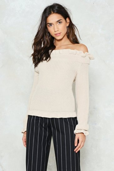 Womens Beige Go for Knit Ribbed Sweater