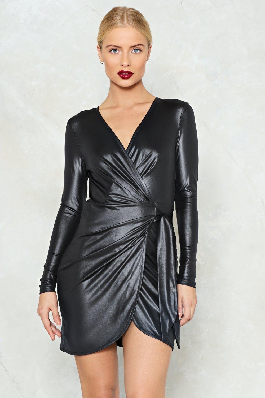9d710f387a8 Womens Black Sweet Emotion Faux Leather Dress
