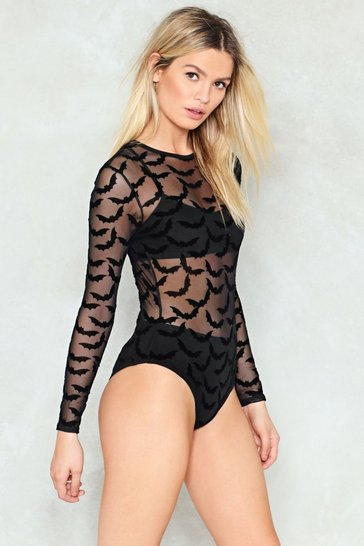 Womens Black Bat Your Lashes Sheer Bodysuit