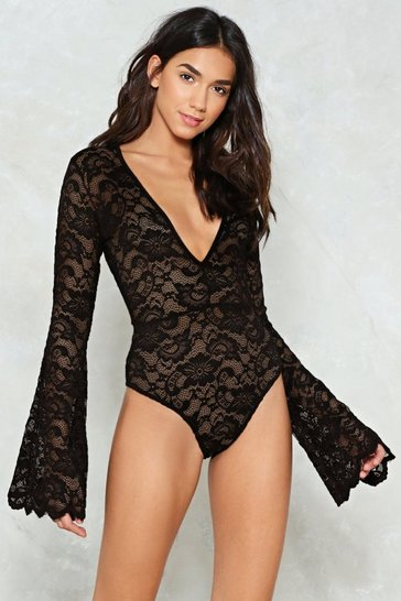 Womens Black Time to Lace the Music Plunging Bodysuit