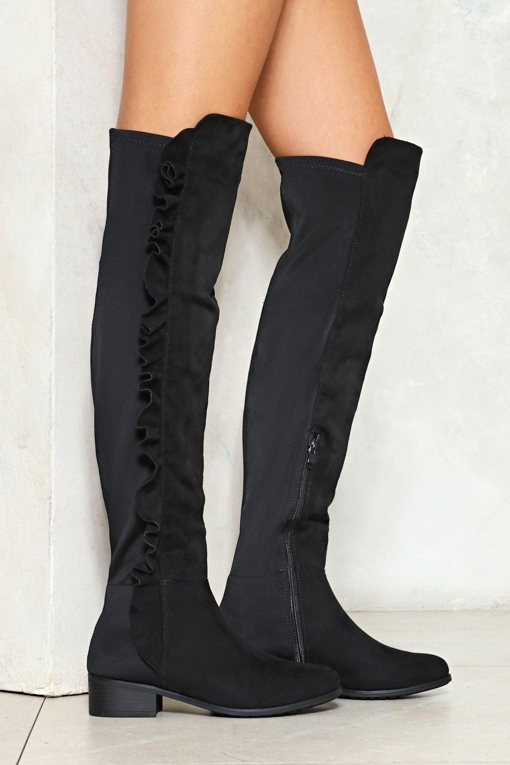 8c048b4cb09 Take No Chances Ruffle Knee-High Boot