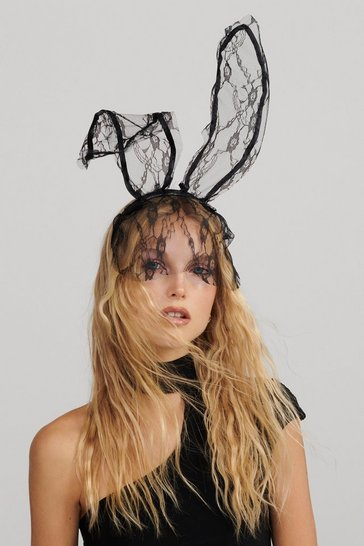 Womens Black We Don't Find It Bunny Veil Ears