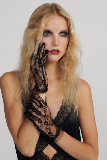 Womens Black In Safe Hands Lace Gloves